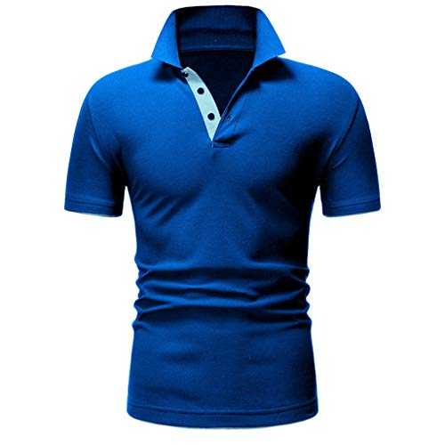 BHYDRY Mode Herren Brief Druck Shirt Kurzarm Casual T-Shirt Bluse Tops(Large,Blau