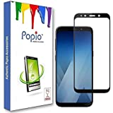 POPIO Tempered glass screen protector for Samsung Galaxy A7 2018 (Black) Edge to Edge Full Screen Coverage With Installation Kit.
