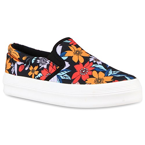Coloridas Chinelo Sapatos Senhoras Briga De Pintura Flores Pretas ons Plataforma Dandy Deslizamento A4Fnv