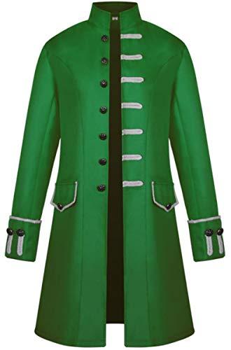 Herren Gothic Mittelalter Mantel Vintage Frack Jacke Gothic Victorian Kleid schwarz Steampunk Coat Uniform Kostüm Vampir Cosplay ()
