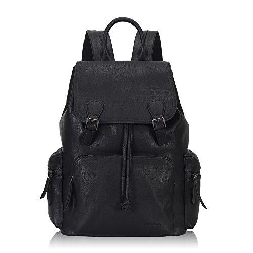 Imagen de veevan moda pu  de cuero  de viaje bolsas de la escuela para hombres de las mujeres se adapta a portátil de 15,6 pulgadas negro