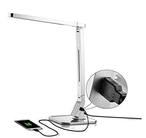 Stylehome 14W LED Dimmbar Tischlampe mit eingebautem USB-Anschluss silber CV-100