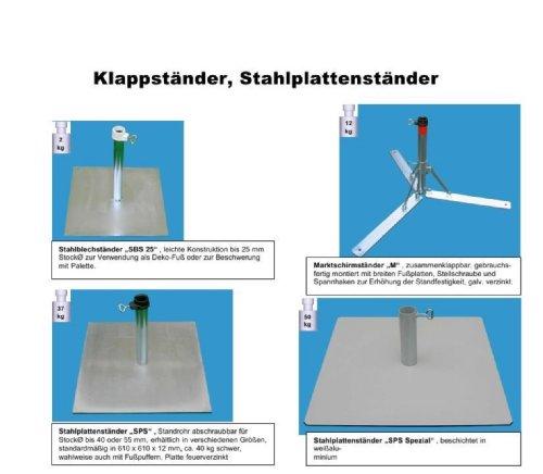 Nexos trading pied de parasol en 4 mm de diamètre en acier de allemand sTABIELO ® sTAHLPLATTENSTÄNDER-- - porte-parapluie-pied métallique pour pour parasols d'un diamètre max. de 40 mm-fabriqué en allemagne-holly produits sTABIELO ®-innovation fabriqué en allemagne-holly-sunshade ®-prix aussi longtemps que les stocks en bade-wurtemberg