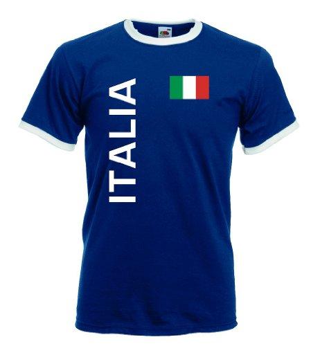 world-of-shirt Italia / Italien Herren T-Shirt Retro Trikot|navy XL