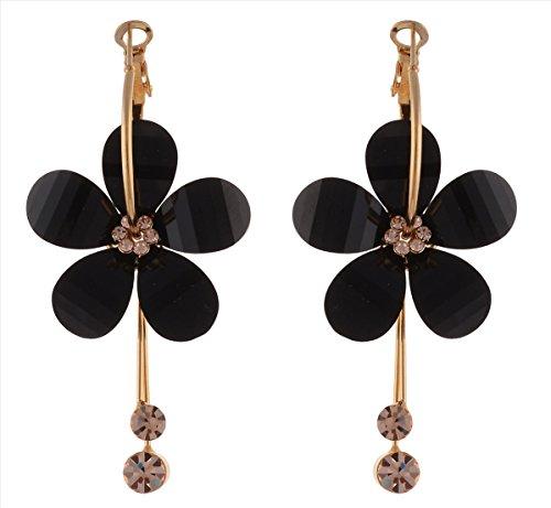Zephyrr Non-Precious Metal Black Hoop Earrings For Women