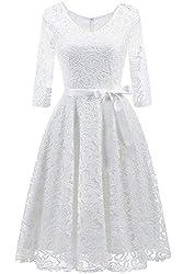 MisShow Damen Eleagnt V-Ausschnitt Spitzenkleider Abendkleider elegant für Hochzeit Brautjungfernkleider Weiss L