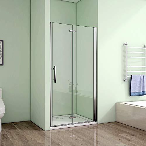 dusch falttuer Nischentür 90x185cm Duschabtrennung Falttür Duschtür Duschwand 6mm Nano Sicherheitsglas