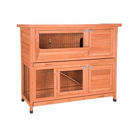 EUGAD Hasenstall Kleintierstall Kaninchenstall Hasenkäfig Stall Kaninchen Meerschweinchen 0001TL