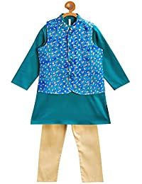 Campana Boys Kurta Set with Jacket - Green & Blue