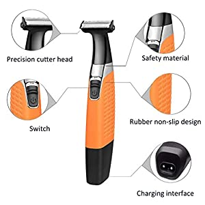Electric Shaver Precision Trimmer Waterproof Beard Shaver Grooming kit Body Hair Trimmer Men's Hair Trimmer Dry/Wet Hair Clipper Wireless USB Rechargeable (Orange)