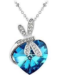 Le Premium® Collier pendentif en coeur de libellule fait avec des cristaux en forme de coeur de Swarovski -Cristal Bermudes Bleu