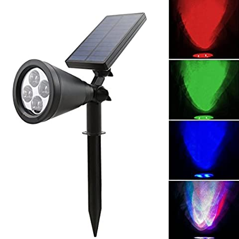 CDQ Newest Version Bright LED Solar Lights Outdoor Spotlight / Wall Lighting, Solar Powered Waterproof for Landscape Garden Driveway Pathway Yard, Security Lamps not only for Ground also for Wall (Color Changing)