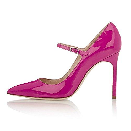 EDEFS - Escarpins Femme - Mary Janes Chaussure - Lanières femme - Talons hauts aiguilles - Bout pointure fermé Rose