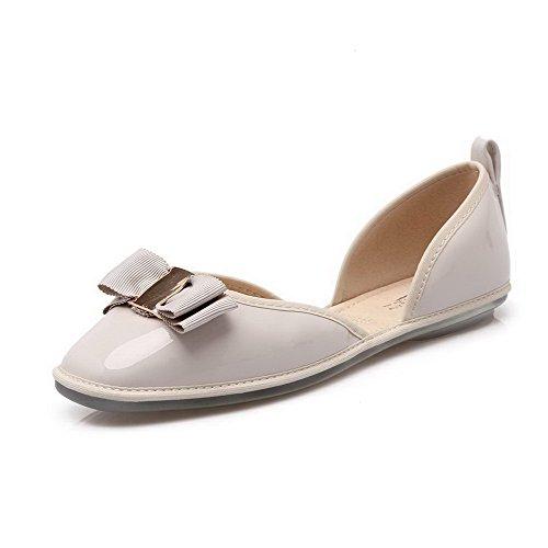 Senhoras Aalardom Pu Couro, Sem Salto Sapatos Baixos Com Peças De Metal Cinza