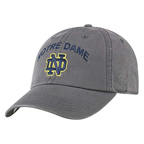 Top of the World Herren Mütze NCAA verstellbar Relaxed Fit Charcoal Arch, Herren, NCAA Men's Hat Relaxed Fit Charcoal Arch Adjustable, Notre Dame Fighting Irish Charcoal, Einstellbar Arch Logo Cap