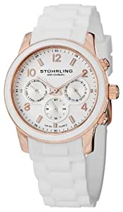 Stuhrling Original Women's Quartz Watch with White Dial Analogue Display and White Rubber Strap 796.01