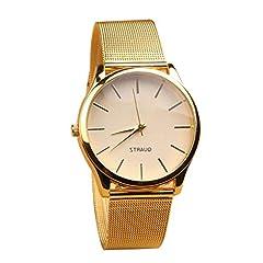 Idea Regalo - Semplice dell'acciaio inossidabile della vigilanza fascia della lega cassa dell'orologio al quarzo elegante orologio da polso Dial Affari