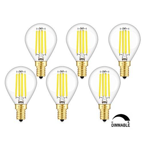 TAMAYKIM G45 4W Dimmbar Antik Edison Stil Kugel Glühfaden LED Lampe, 5000K Tageslichtweiß 450 Lumen, 45W Entspricht Glühlampe, E14 Fassung, 360° Abstrahlwinkel, 6er-Pack