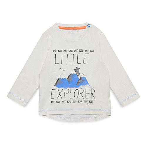 ESPRIT Baby-Jungen Langarmshirt RK10172, Weiß (Off White 110), 68 (Abenteuer Weiße T-shirt)