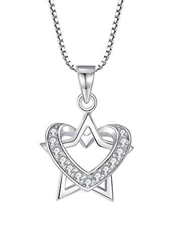 Collana con pendente per le donne, stella e cuore in argento sterling e zirconia cubica, catenina veneziana da 46 cm - sy064n1