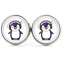 SCHMUCKZUCKER Damen Ohrstecker Motiv Kleiner Pinguin Modeschmuck Ohrringe silber-farben 2 Größen