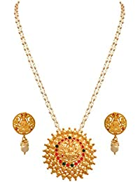 JFL - Jewellery For Less Traditional Ethnic One Gram Matt Gold Plated Temple Laxmi Goddess Stone Pearl Designer...