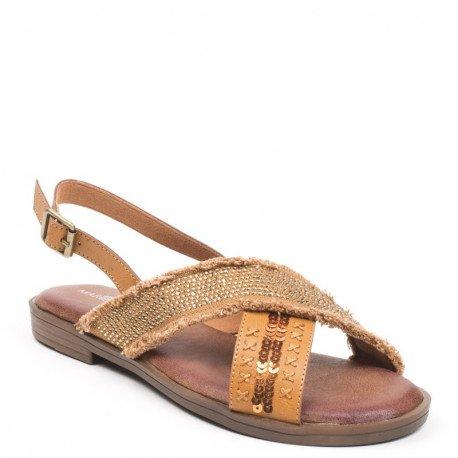 Ideal Shoes - Sandales plates bi-matière et incrustées de strass Sohane Camel