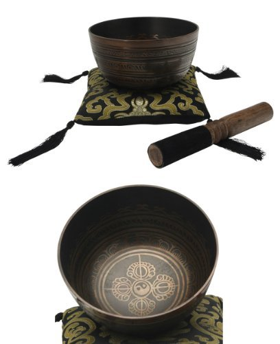 Meditation Cup Singing Bowl with Decorative Symbols