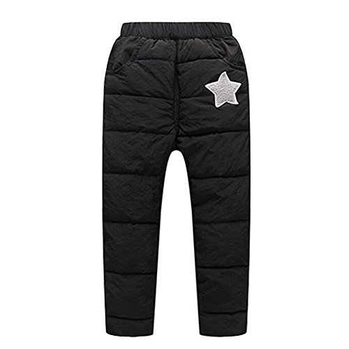 Zhuhaixmy Kids Kinder Star Muster Elastische Taille Winter Warm Verdicken Daunenhose Jungen Mädchen Plus Samt Straight - Hose Star Schwarz City