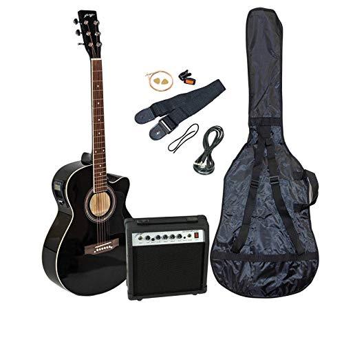 Johnny Brook Semi-Akustikgitarren-Set mit 20 W Verstärker Schwarz