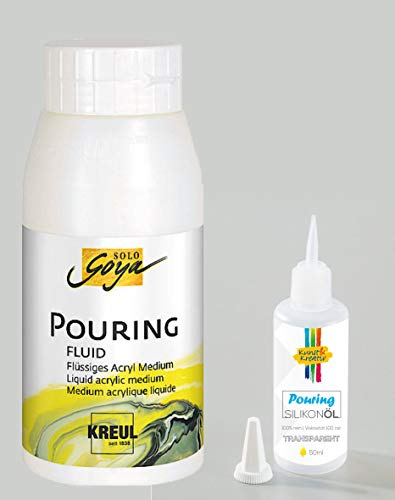 Kunst & Kreativ Pouring Silikonöl ((Set) 50 ml + Pouring Fluid 750 ml)