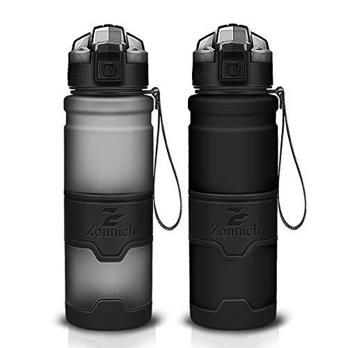 ZOUNICH Botella del Agua Deporte Sin BPA Reutilizable de Plastico 1-Click Apertura