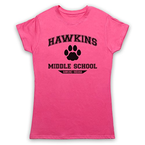 Inspiriert durch Stranger Things Hawkins Middle School Paw Logo Inoffiziell Damen T-Shirt Rosa
