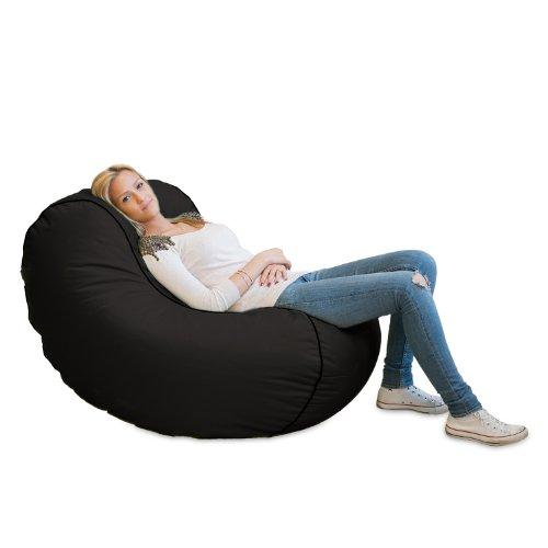 Lumaland Luxury Lounge Chair Sitzsack stylischer Beanbag 320L Füllung verschieden Farben Schwarz