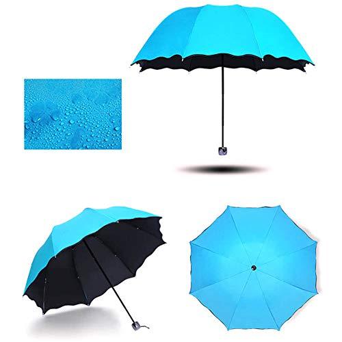 JiMany Outdoor Klappschirm Sonnenschirm, wetterfester Regenschirm, kreative Wasserblüte, hochwertige Materialien, Reiseutensilien,Blue