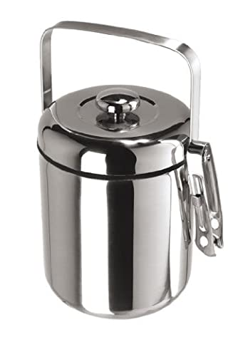 Oggi Galaxy Stainless Steel Mirror Ice Bucket with Black Insert and Tongs by Oggi