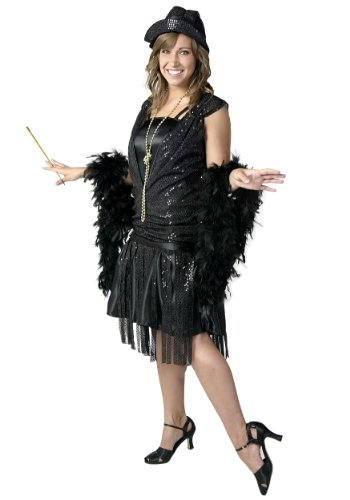 Plus Size Black Jazz Flapper Fancy dress costume 5X