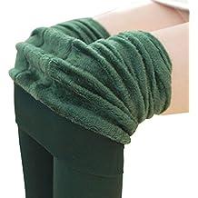 BESTOYARD Invierno cálido Polar Forrado Polainas Calcetines Calcetines Calientes térmicas Gruesas Polainas Negras Inferior para Mujeres