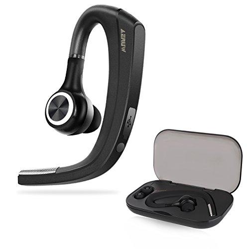 Bluetooth Headset, Kabelloses Headset Bluetooth Kopfhörer mit Mic Mute Switch, Trucker Fahren Freisprecheinrichtung Bluetooth Ohr Kompatibel für iPhone Android Handy [+Tragbaren Aufbewahrungs box] (New-version)
