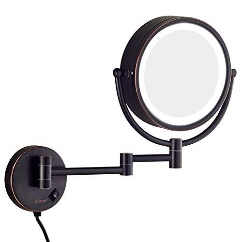 Espejos de maquillaje LED montados en la pared, espejos de vanidad plegables...
