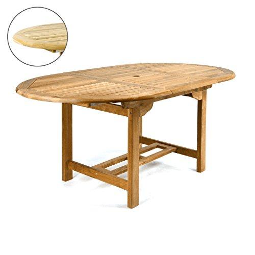 DIVERO GL05520 Ovaler ausziehbarer Gartentisch Esstisch Balkontisch Holz Teak Tisch für Terrasse...