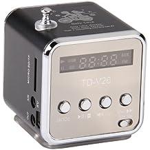 Black 3.5mm Mini Portable Music Player Speaker FM USB Micro SD TF Card