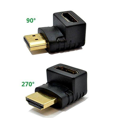 Top-Longer HDMI Winkel Adapter 270 Grad und 90 Grad 4k HDMI Stecker auf Buchse Konverter Full HD mit vergoldete Kontakte 3D 1080p FULL HD - Schwarz