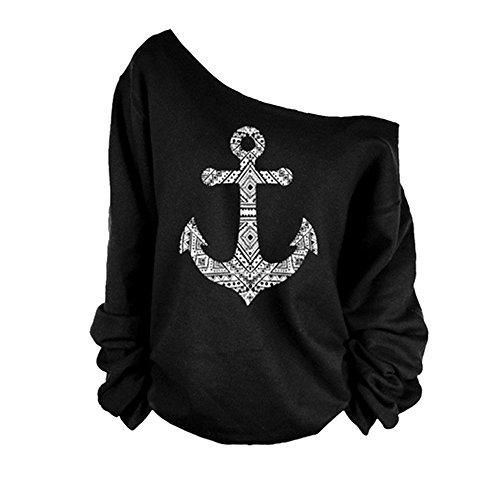 Perfectii Damen Pullover, Stylische Sweatshirts Anker Druck Langarm Sweatshirts Off Shoulder T-Shirt Tops - Damen Anker