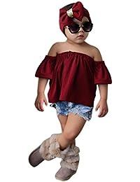 3PCS Bebé de hombro Sólido Camisa+diadema+corta vaqueros Jeans pantalones ropa Conjunto,Yannerr Recién nacido niña niño primavera Verano Denim tejana bordada top mono traje