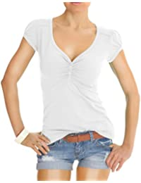 Bestyledberlin Damen T Shirt Oberteile Basic Top Shirt Stretch kurzarm mit Knöpfen t01p