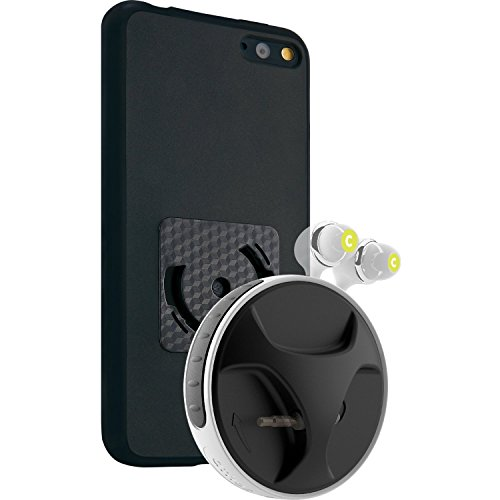"""Gadget """"Smartwind® Duo"""" para Amazon Fire Phone - compuesto de bumper athos-c en negro con enrollador de cable de alta calidad para auriculares en blanco-negro con soporte."""