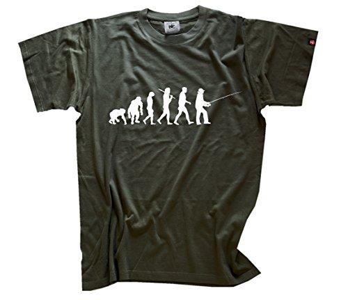 Shirtzshop Erwachsene T-Shirt Original Angler I Angeln Evolution, Olive, XXXL, sshop-evofish-t