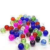 50Stück 8mm Kristall Glas rund Perlen-gemischt-A3676