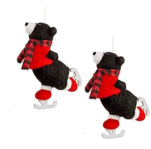 Holiday Lane Dekoschal mit schwarzen Bären und rotem Karo-Schal, 2 Stück